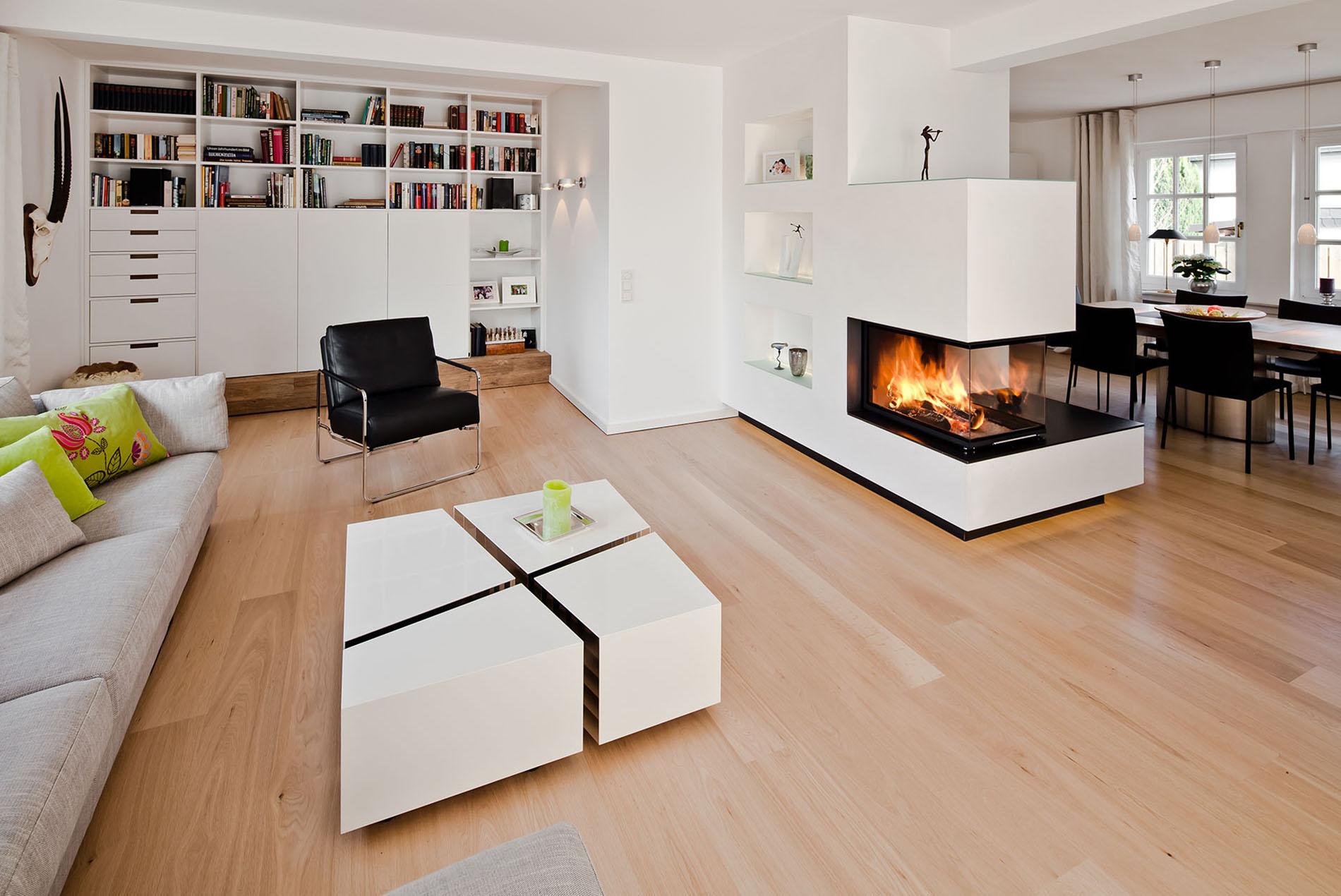 Offenes Wohn Esszimmer Mit Kamin Schopker Holz Wohn Form Gmbh